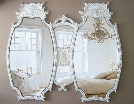 Antique Double Mirror, Room size Mirror, White Baroque Mirror
