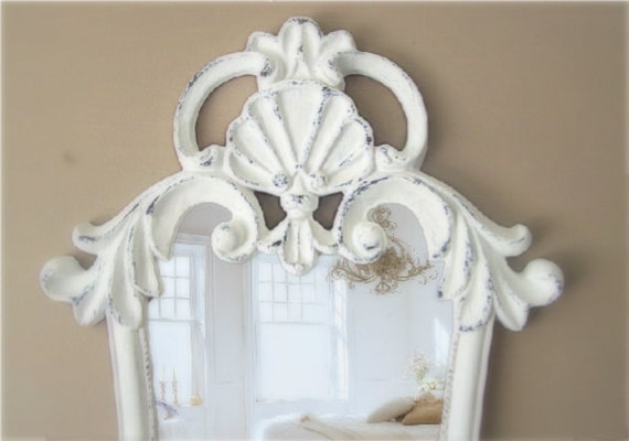 Curvy French Provencal Mirror, White Baroque, Shabby