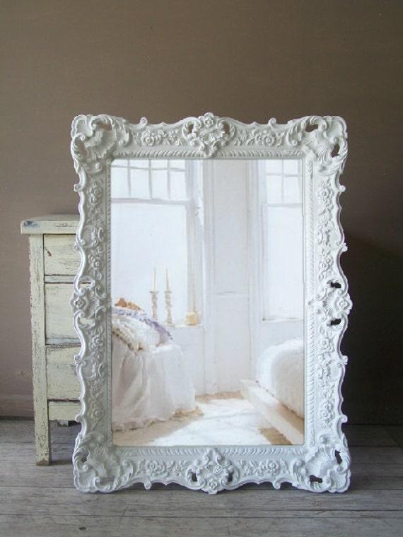 white mirror large shabby chic mirror vintage - Mirror With White Frame