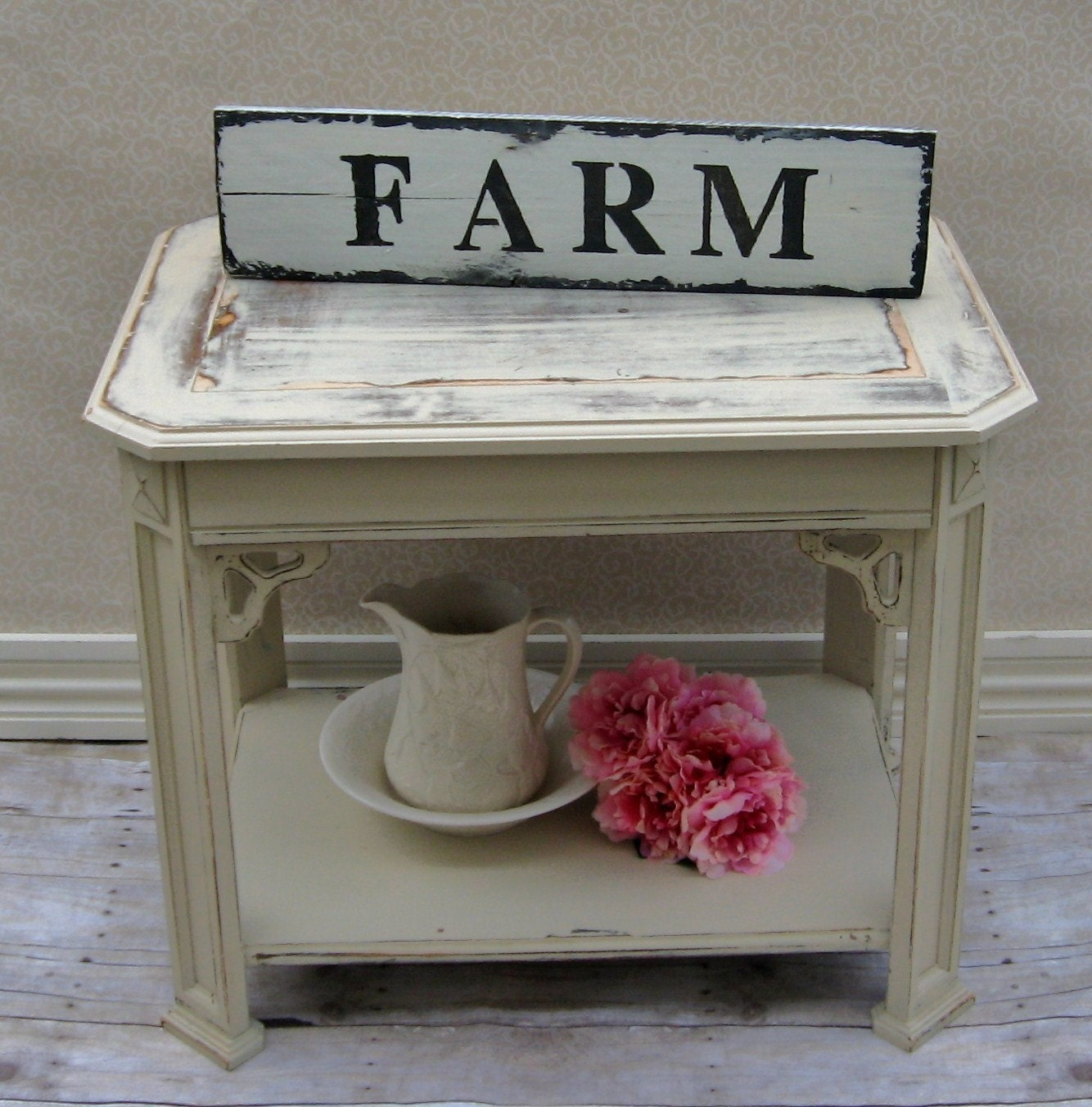Farmhouse Chic Sign On Old Plank Hand Painted Sign