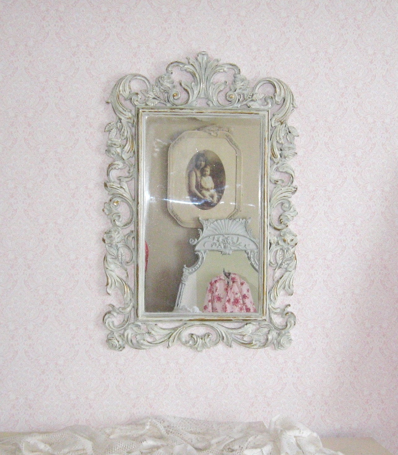 Rococo mirror hollywood regency vintage distressed white for Baroque resin mirror