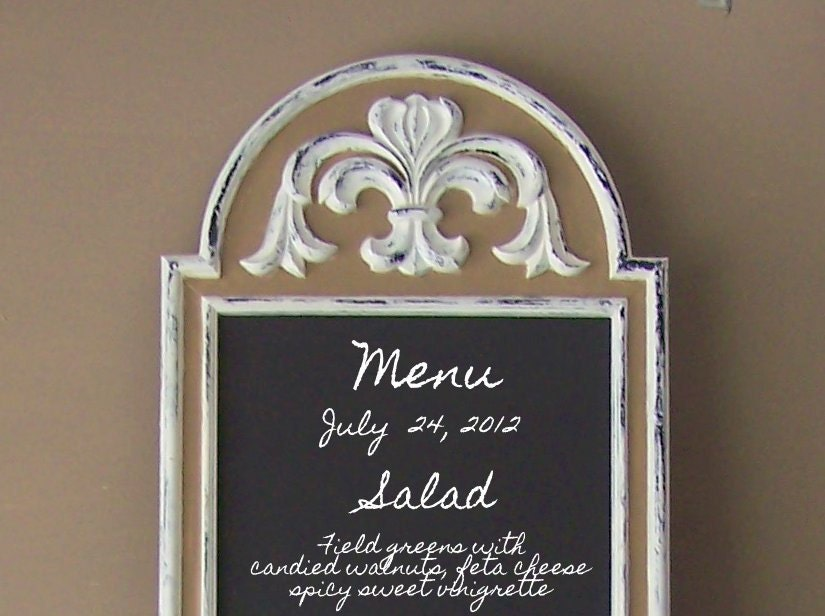 French Bistro Long Chalkboard Fluer De Lis Wedding Menu