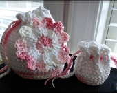 Giant Flower Drawstring Bag and Coin Purse Set - SALE - was 18