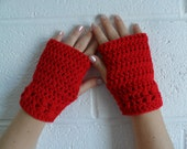 Kylie Wristlets in Cherry Red - Hand Wrist Warmers Fingerless Gloves Gauntlets Mittens - Ready to Ship - FREE US Shipping