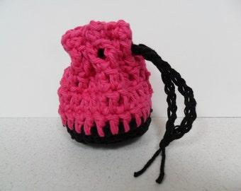 Cotton Coin Purse - Black & Pink - Money Dice Token Medicine Bag - Drawstring