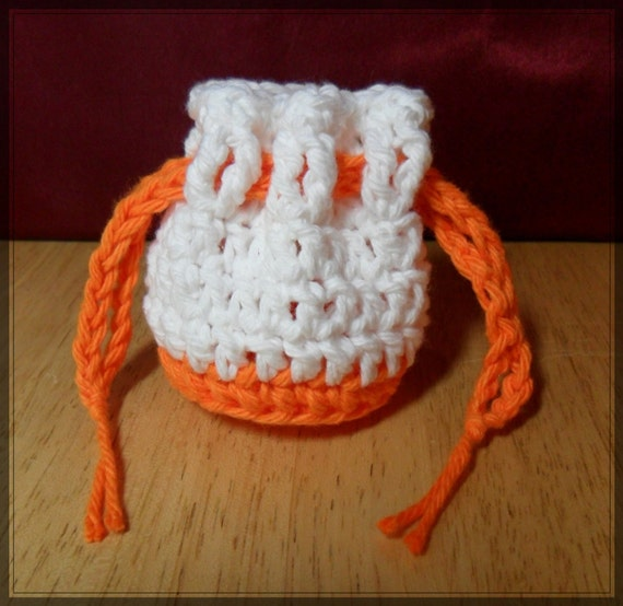 Cotton Coin Purse - White & Orange - Money Dice Token Bag - Drawstring