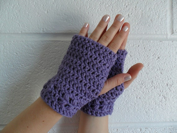 Kylie Wristlets in Lavender - Hand Wrist Warmers Fingerless Gloves Gauntlets Mittens - Ready to Ship