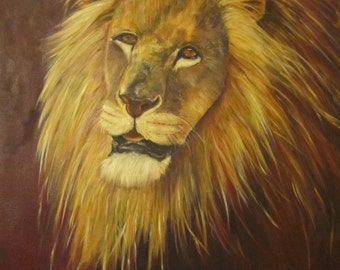 "Lion cat animal wildlife original art oil painting African portrait on 24"" x 30"" x 1.5"" canvas by Sandra Cutrer Fine Art"