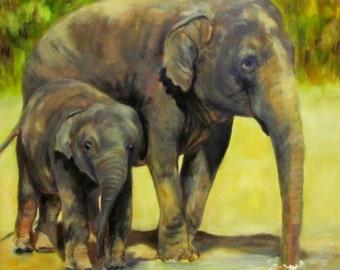 "Elephants wildlife animal  original art oil painting on 12"" x 12"" canvas by Sandra Cutrer Fine Art"