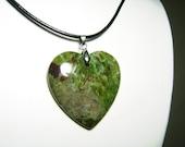Australian Green Jasper Semi Precious Gemstone Heart Pendant