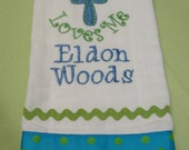 Personalized Baby Burp Cloth - Christening Keepsake