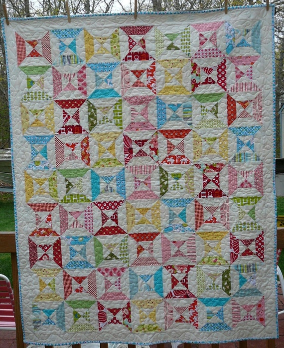 Colorful lap or child's quilt.
