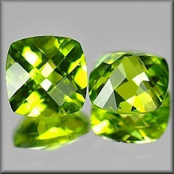 4793- FACETED - Wonderful 6mm Checkerboard Cut Peridot - Matched Pair