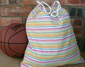 LARGE DRAWSTRING BAG - Pink Multi Stripe with Pink Goodnight Stars Lining