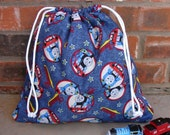 MEDIUM DRAWSTRING BAG - Thomas the Train Fabric and Blue Goodnight Stars Lining - with 2 outside pockets - Personalization Available