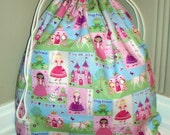 Large Drawstring Bag - Princess Dress Up with Pink Swirly Lining - Personalization Available