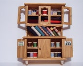 Dollhouse Miniature Sewing Supply Cabinet Hutch