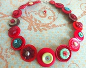 red and turquoise vintage button necklace (adult size)