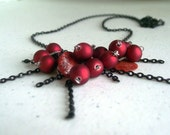 Lucky Thirteen Necklace - long black chain seashell shell charms acrylic red bead