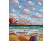 PAINTING ORIGINAL Acrylic on Canvas Beach Waves Ocean Modern Seascape Contemporary Landscape Folk Art  Scenery Fine Artwork by Horvath 12x16