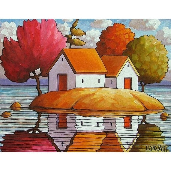 ORIGINAL PAINTING ABSTRACT FOLK ART Cottage Landscape Art Modern Colorful Contemporary Artwork by Catherine Horvath Buchanan 14x18