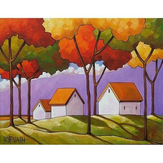 ORIGINAL PAINTING Folk Art Abstract Purple Mountains Trees Landscape Colorful Contemporary Fine Artwork by Cathy Horvath Buchanan 14x18
