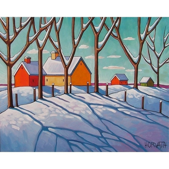 ORIGINAL Painting Folk Art Winter Snow Trees Modern Abstract Graphic Landscape Contemporary Artwork by Cathy Horvath Buchanan 16x20
