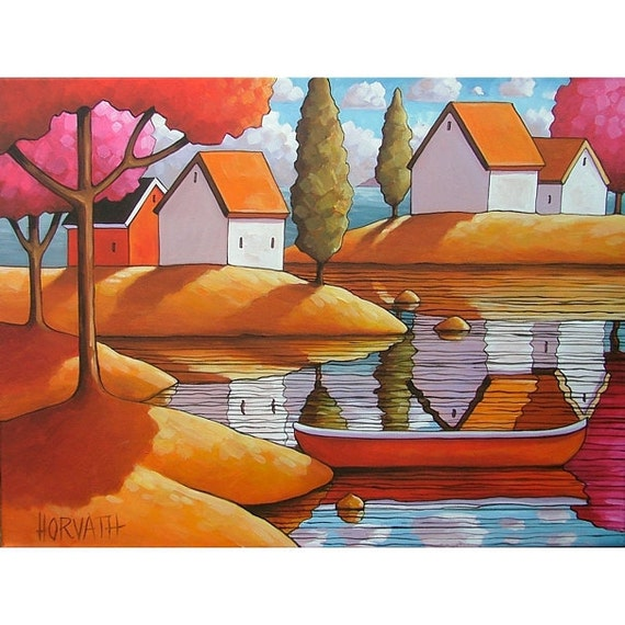 ORIGINAL Painting Landscape Modern Folk Art Red Canoe Cottages Trees Water Canvas Fine Artwork by Cathy Horvath Buchanan 18x24