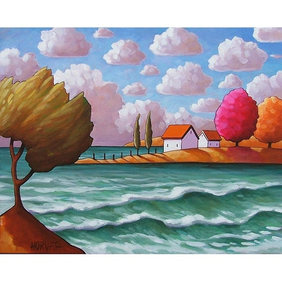 ORIGINAL PAINTING Folk Art Windy Waves Seaside Cottages Modern Abstract Landscape Fine Artwork by Cathy Horvath Buchanan 16x20