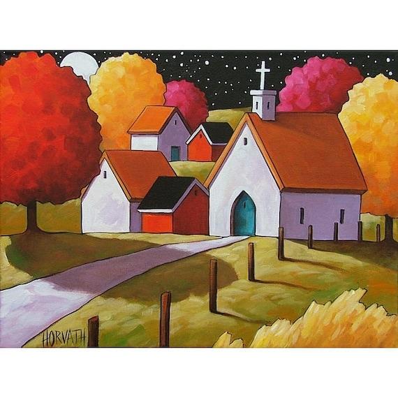 PAINTING ORIGINAL Folk Art Church Path Night Moon Modern Abstract Trees Stars Landscape Fine Artwork by Cathy Horvath Buchanan 12x16