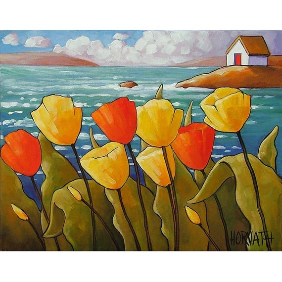 PAINTING ORIGINAL Folk Art Ocean Yellow Red Tulip Flower Blooms Modern Abstract Landscape Color Seascape Fine Art C. Horvath Buchanan 11x14