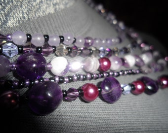 Cascading Amethyst, Pearls, and Crystal Necklace