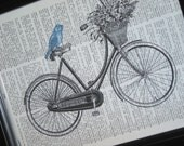 BOGO SALE Bicycle Basket Bird Print Upcycled Book Art Print Bird and Bicycle on Vintage Dictionary Book Page