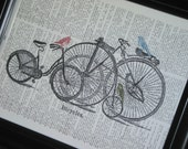 BOGO SALE Upcycled Art Book Print Bicycles and Birds on Vintage Dictionary Book Page 8 x 10