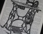 BOGO SALE Upcycled Dictionary Art Antique Sewing Machine on Vintage Dictionary Book Page Print