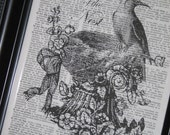 BOGO SALE Dictionary Book Art Print Old Book Page 8 x 10 Upcycle Wall Art Queen of Nest
