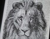 BOGO SALE Lion Art Print Upcycle Dictionary Book Page Wall Art Print on Dictionary 8 x 10 Lion