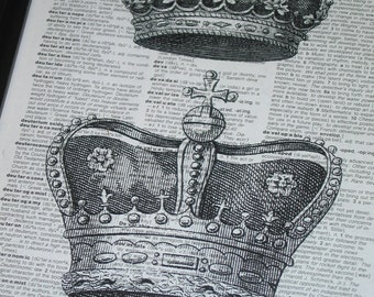 Crown Dictionary Print Upcycled Dictionary Art Book Print King and Queen Crowns printed on Vintage Dictionary Page