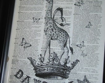 Upcycled Art Daydream with this Giraffe Printed on a Vintage Dictionary Page 8 x 10