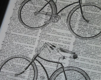 BOGO SALE Bicycles Upcycle Print Wall Art on a Vintage Dictionary Book Page 8 x 10