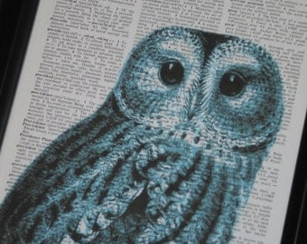 Upcycled Art Book Page Blue Owl Head on Vintage Dictionary Book Page Print 8 x 10