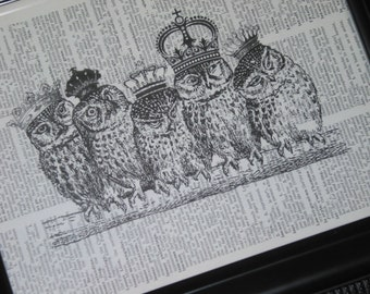 BOGO SALE Owl Art Print Crown Owls Print Upcycled Dictionary Art PrintRoyal Owls on Branch Vintage Dictionary Book Print