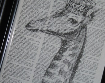 BOGO SALE Dictionary Art Prints Upcycled Giraffe With Crown on Vintage Dictionary Book Print Giraffe Decor