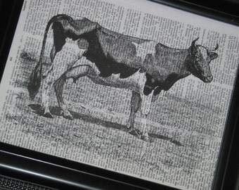 BOGO SALE Cow Dictionary Art Print Upcycled Book Wall Print Vintage Dictionary Book Page 8 x 10