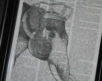 BOGO SALE Elephant Art Dictionary Print Book Page Vintage Wall Art Upcycle 8 x 10 Elephant Crown