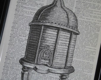 BOGO SALE Dictionary Art Print Book Page Upcycle Beehive 8 x 10 Vintage Dictionary Book Page Print