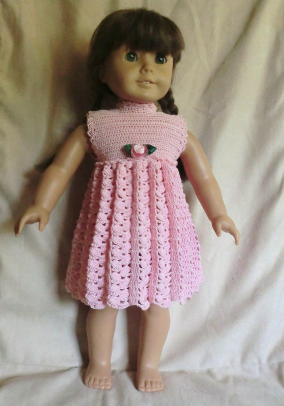Free 18 Inch Knitted Doll Clothes Patterns : 164 Empire Waist Dress Crochet Pattern for American Girl
