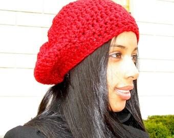 Slouchy Hat Crochet, Women, Teen, Men, Dark Red, Chunky, Unisex, Ready To Ship, Tam,