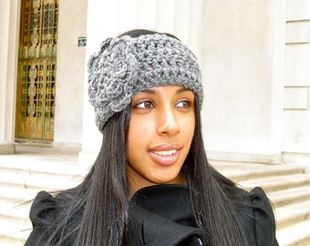 Crochet Headband, Ear Warmer With Flower, Crochet, Gray, Adult, Women, Teen