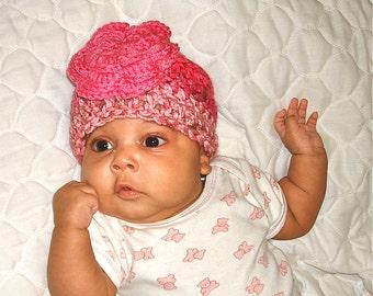 Baby Girl Beanie Hat With Flower, Crochet, Pink, Newborn, 0-3 months